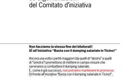 """Il Governo continua la sua opera di censura nei confronti dell'iniziativa  """"Basta con il dumping salariale in Ticino"""""""